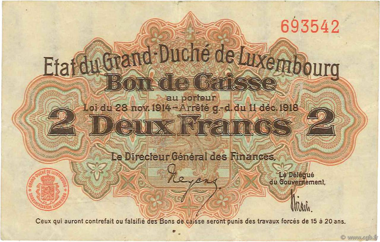 2 Francs LUXEMBOURG  1919 P.28 TTB