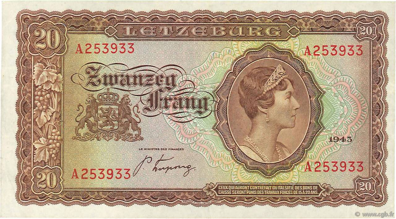 20 Frang LUXEMBOURG  1943 P.42 SUP