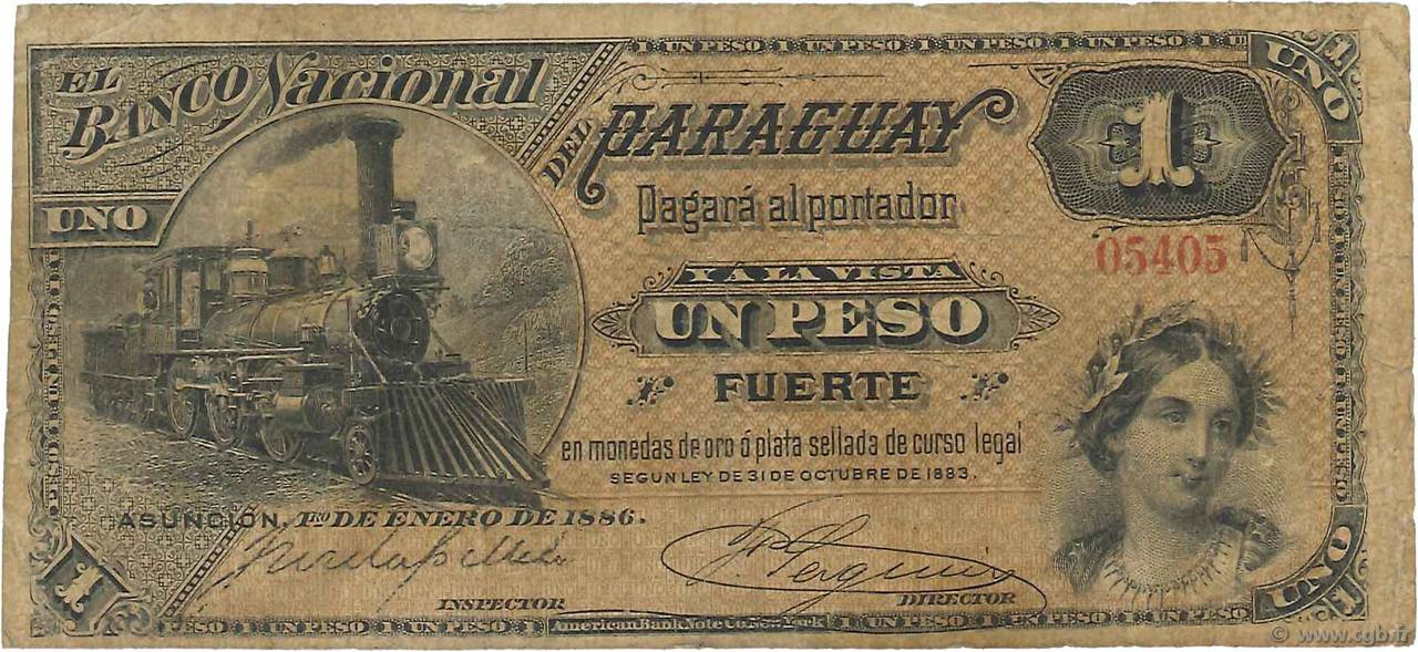 1 Peso PARAGUAY  1886 PS.145 TB