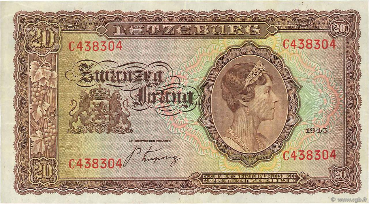 20 Frang LUXEMBOURG  1943 P.42 TTB