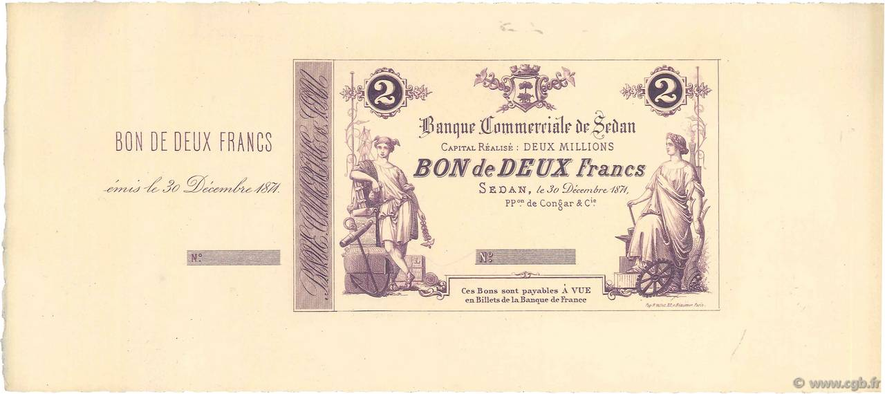 2 Francs FRANCE régionalisme et divers SEDAN 1871 JER.08.14b SPL
