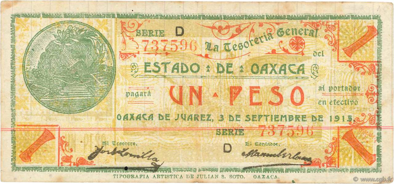 1 Peso MEXIQUE  1915 PS.0953a TTB