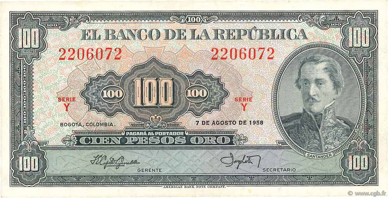 100 Pesos Oro COLOMBIE  1958 P.403a SUP+