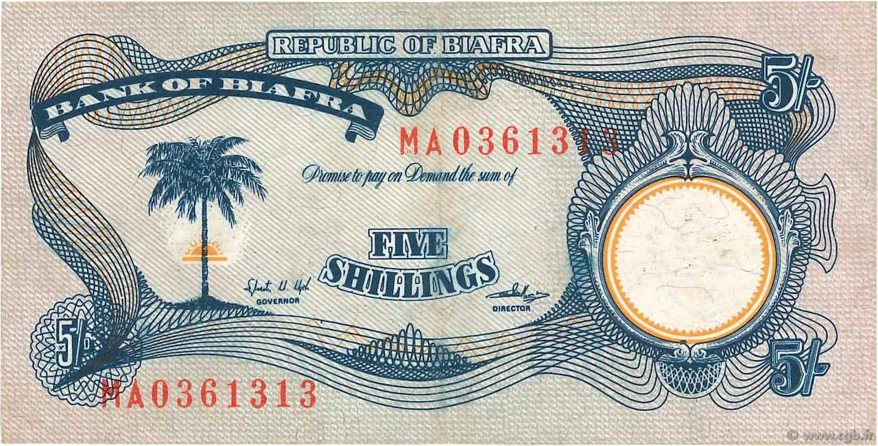 5 Shillings BIAFRA  1968 P.03a SUP