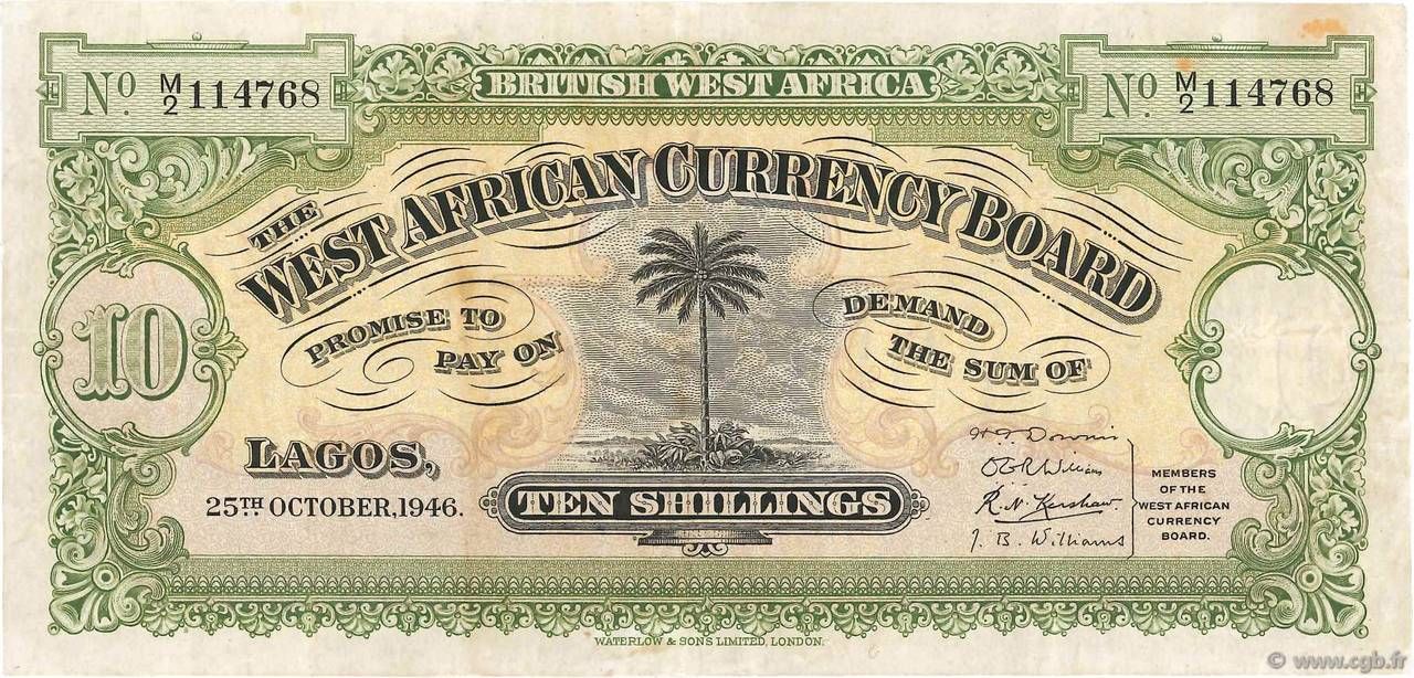 10 Shillings AFRIQUE OCCIDENTALE BRITANNIQUE  1946 P.07b TTB