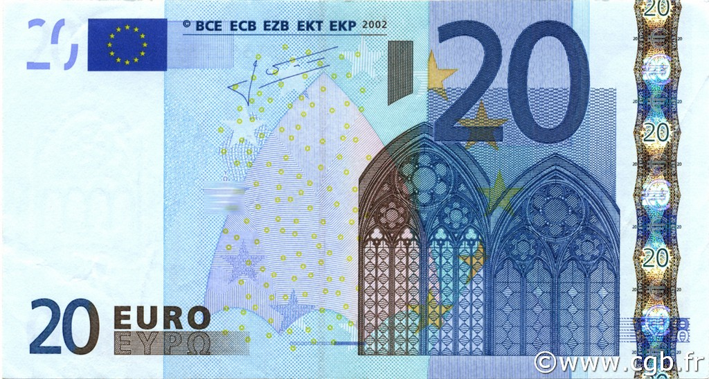 20 euro europa 2002 b91 0447 banknotes. Black Bedroom Furniture Sets. Home Design Ideas