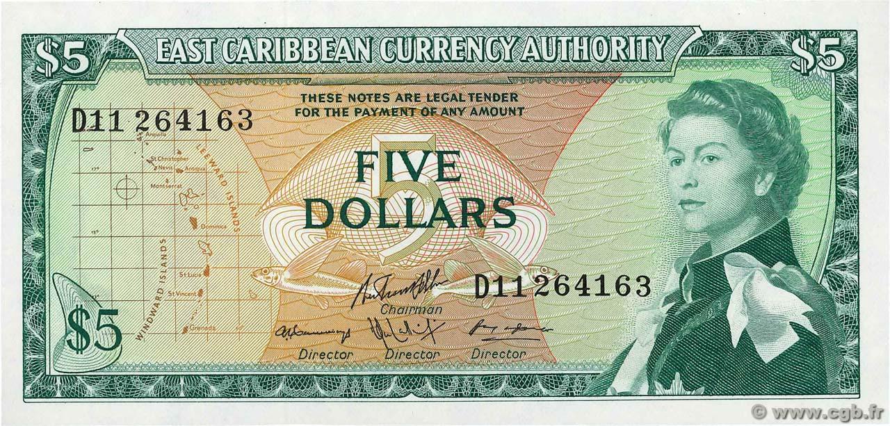 1965 Aunc P 14 H East Caribbean States 5 Dollars