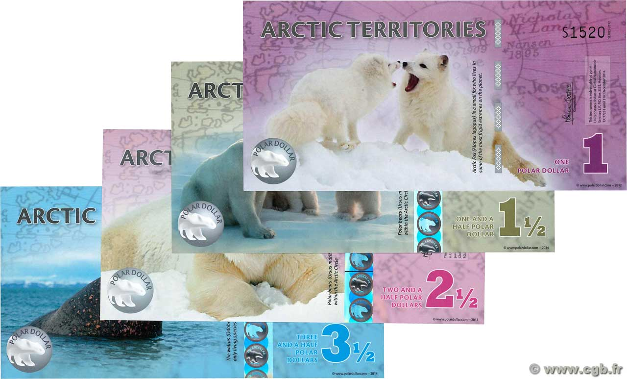 Lot de 4 Polar Dollars LOTS  2012 P.- NEUF