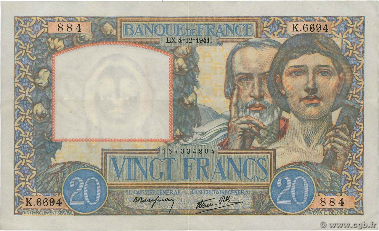 20 Francs TRAVAIL ET SCIENCE  FRANCE  1941 F.12.20 TTB