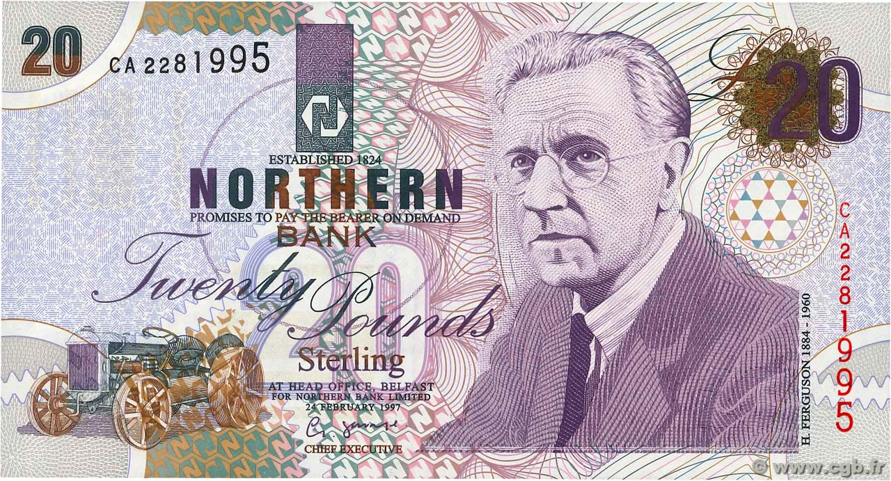 20 Pounds NORTHERN IRELAND  1997 P.199a ST