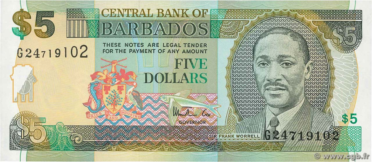 5 Dollars BARBADOS  1999 P.55 ST
