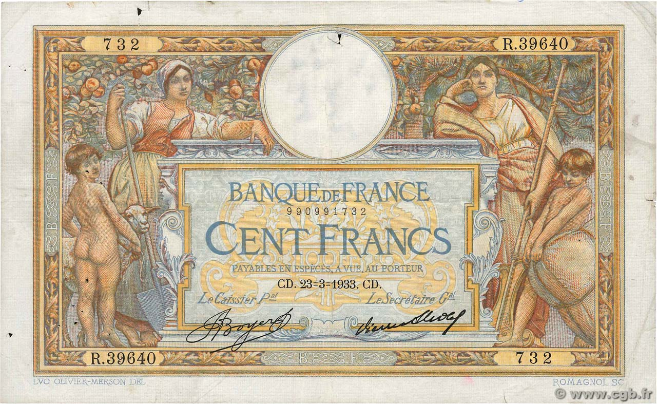 100 Francs LUC OLIVIER MERSON grands cartouches FRANKREICH  1933 F.24.12 fSS
