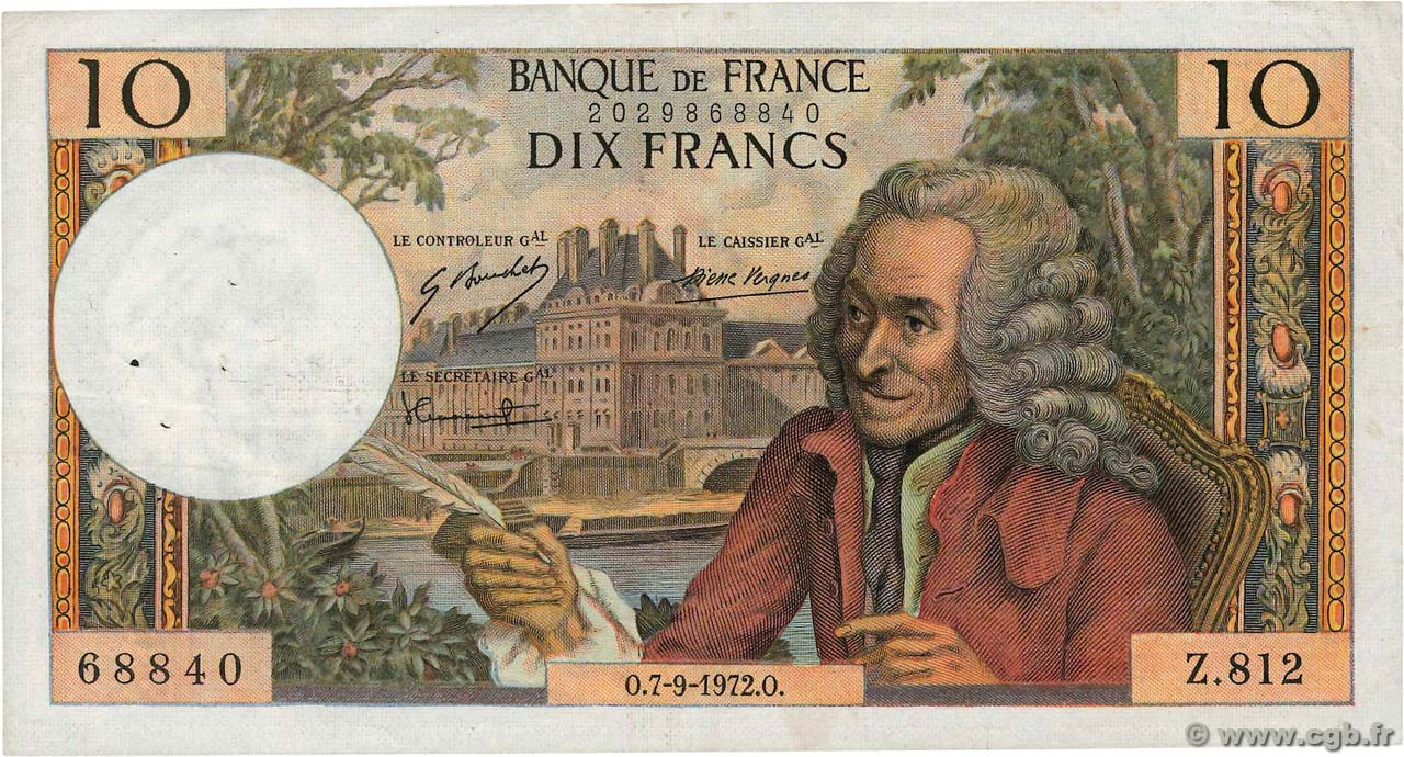 10 Francs VOLTAIRE FRANCE  1972 F.62.58 VF-