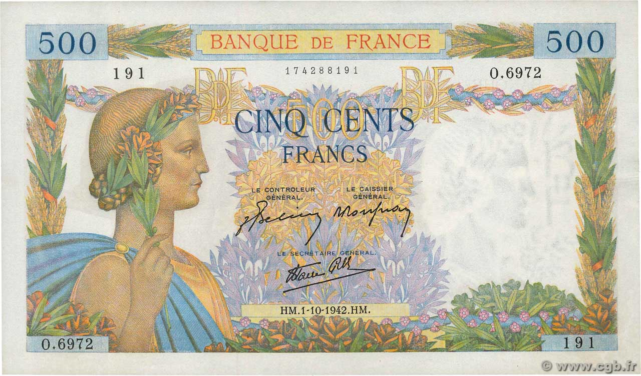 500 Francs LA PAIX FRANCE  1942 F.32.41 SPL