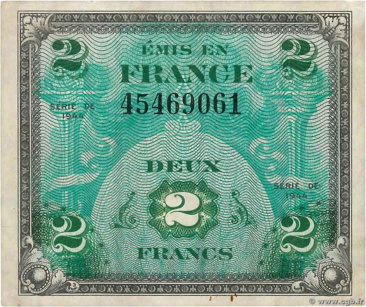 2 Francs DRAPEAU FRANCE  1944 VF.16.01 VF