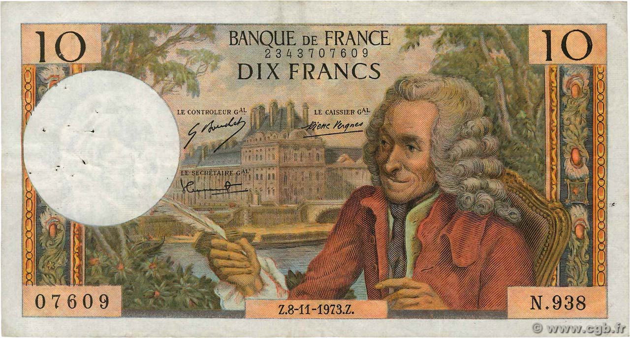 10 Francs VOLTAIRE FRANCE  1973 F.62.64 TB+