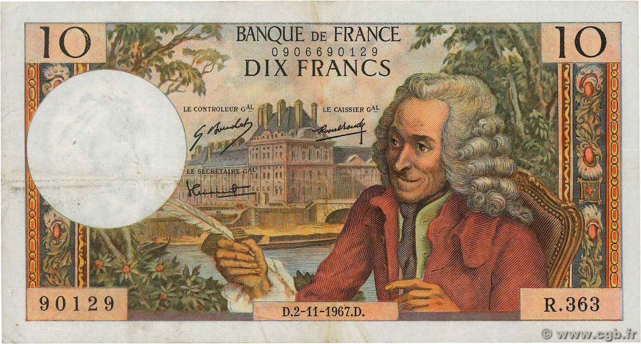 10 Francs VOLTAIRE FRANCE  1967 F.62.29 TB