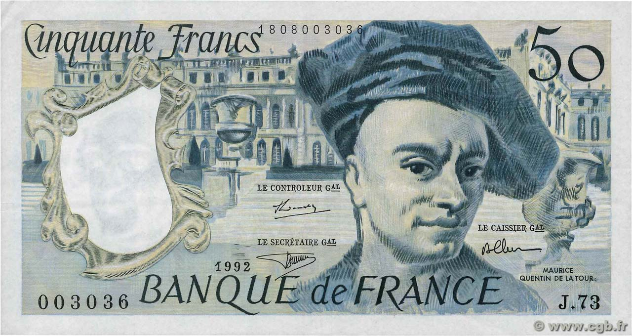 50 Francs QUENTIN DE LA TOUR FRANCE  1992 F.67.18 TTB