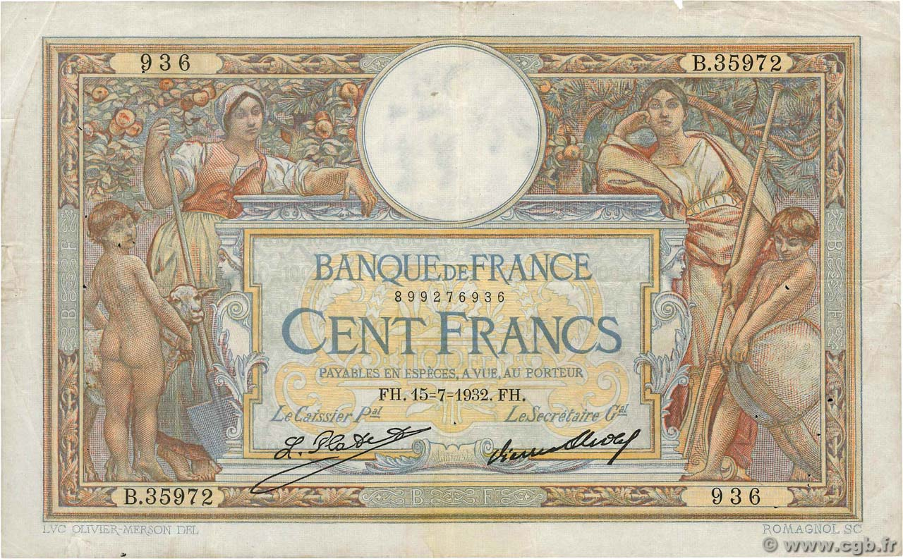 100 Francs LUC OLIVIER MERSON grands cartouches FRANCE  1932 F.24.11 TB