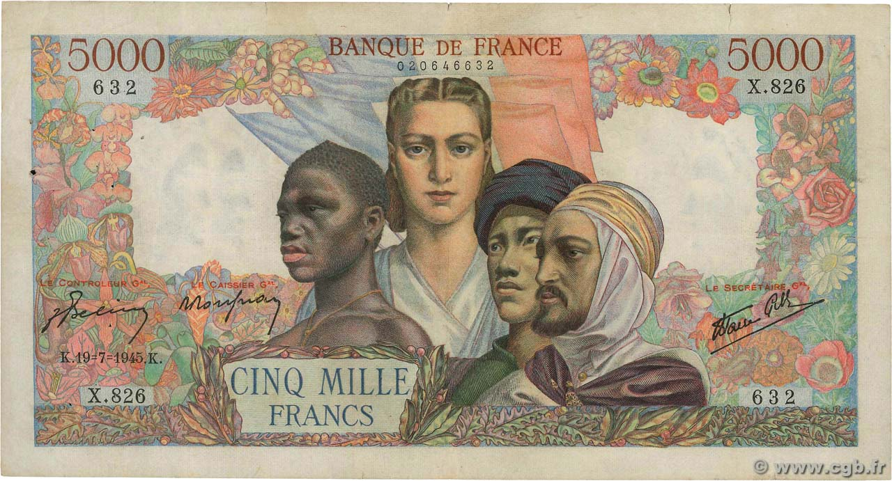 5000 Francs EMPIRE FRANÇAIS FRANCE  1945 F.47.35 TB