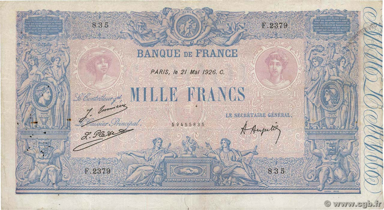 1000 Francs BLEU ET ROSE FRANCE  1926 F.36.42 TB