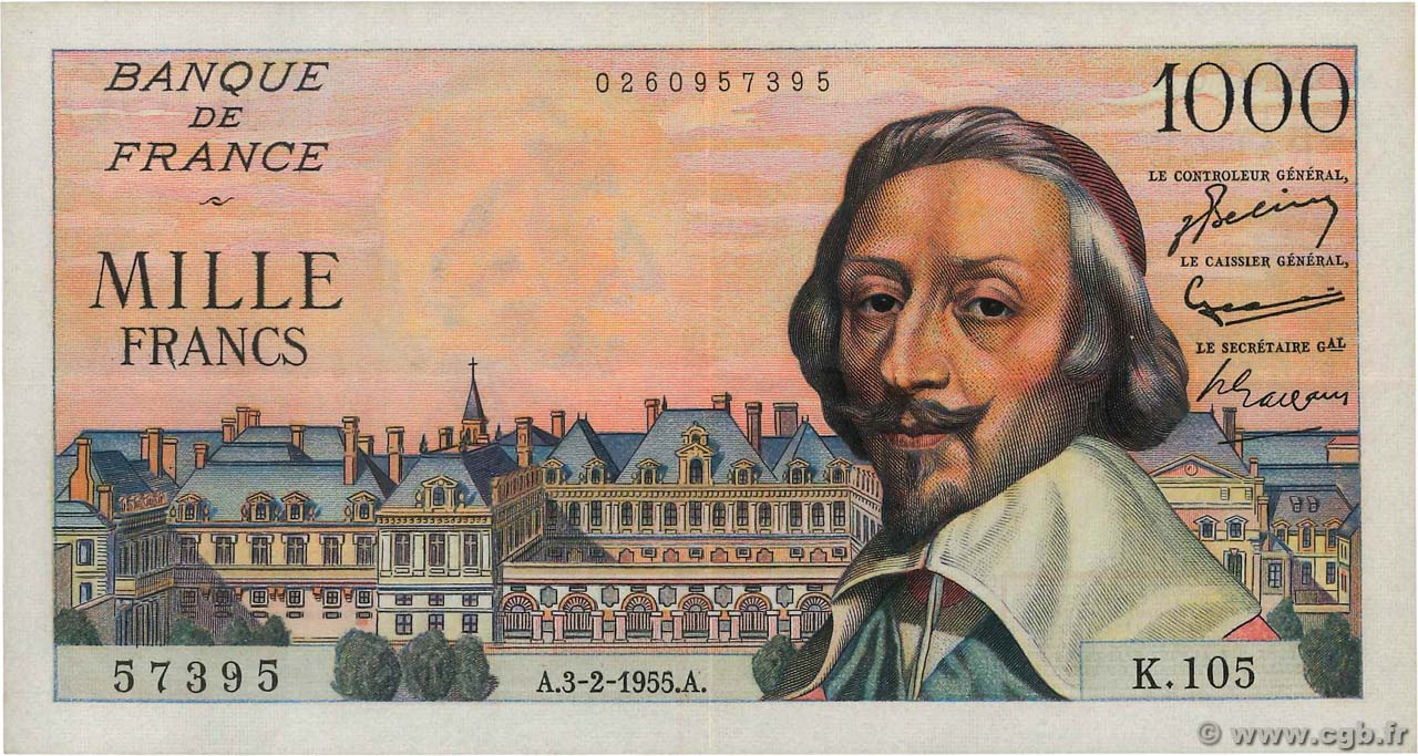 1000 Francs RICHELIEU FRANCE  1955 F.42.10 SUP