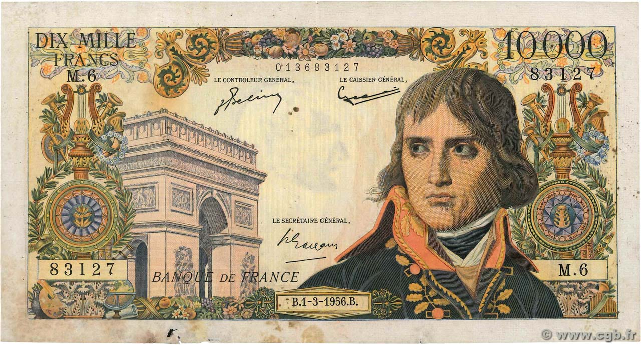 10000 Francs BONAPARTE FRANCE  1956 F.51.02 TB