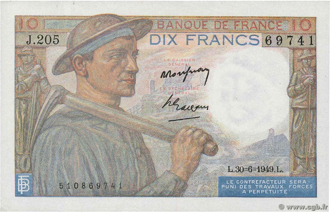 10 Francs MINEUR FRANCE  1949 F.08.22 SUP