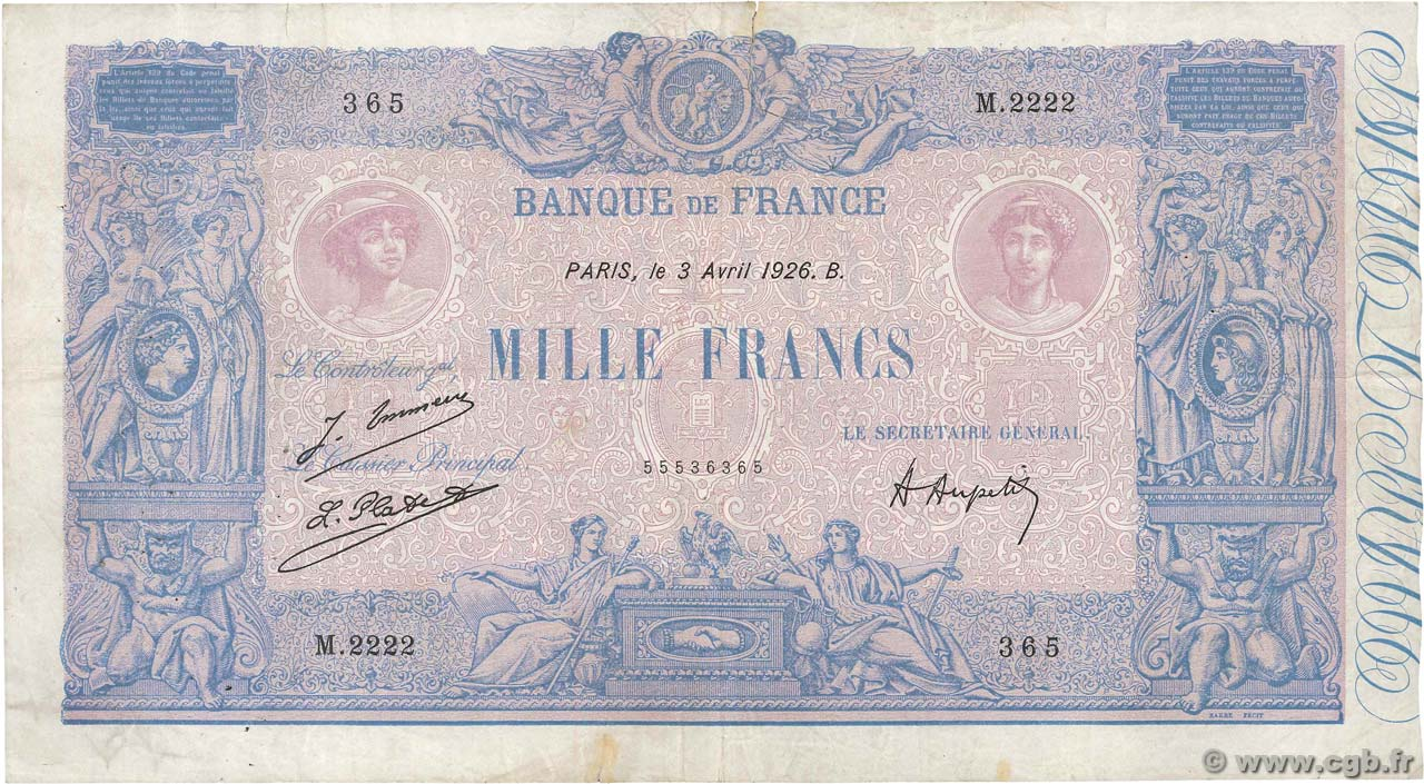 1000 Francs BLEU ET ROSE FRANCE  1926 F.36.42 pr.TB