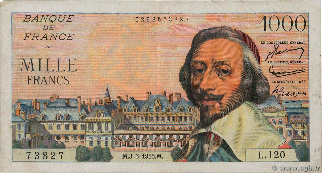 1000 Francs RICHELIEU FRANCE  1955 F.42.11 TB