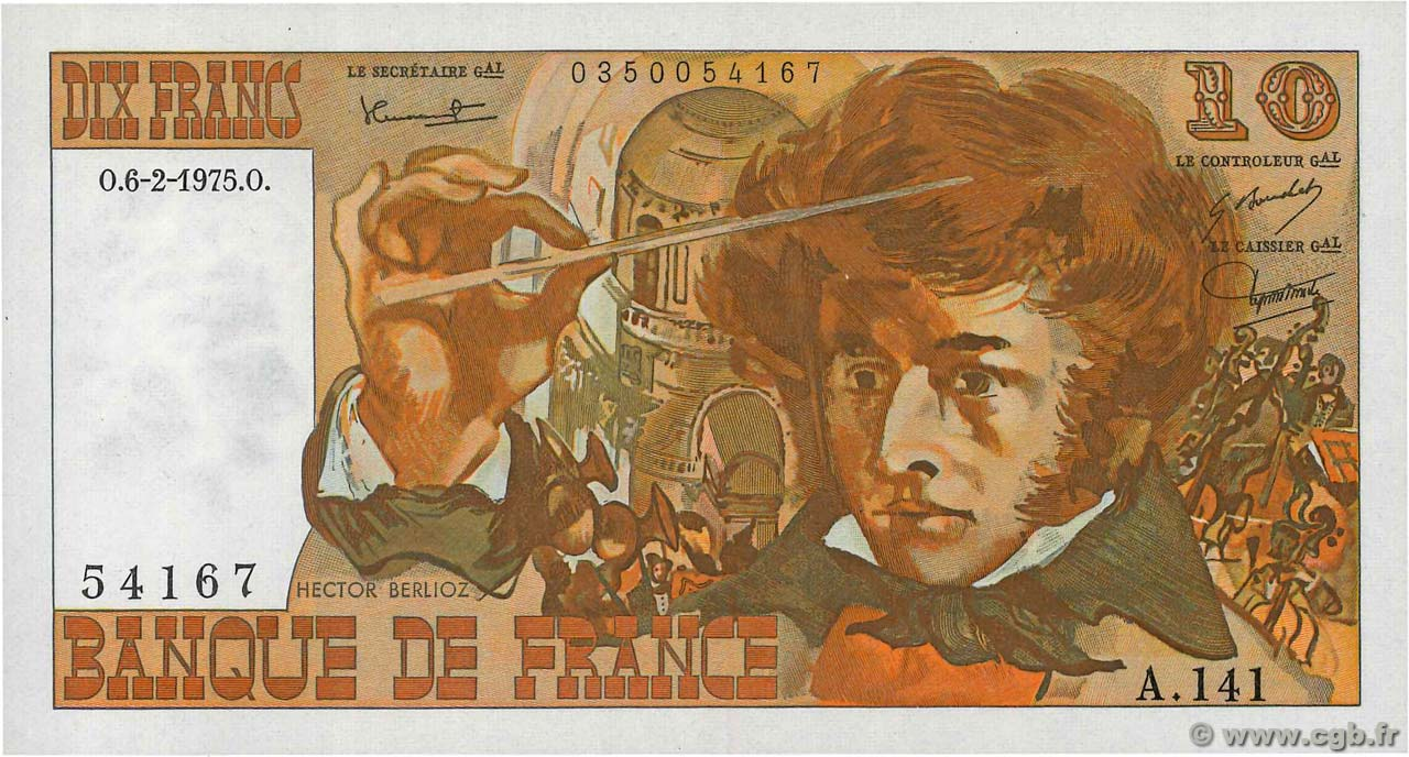 10 Francs BERLIOZ FRANCE  1975 F.63.08 UNC