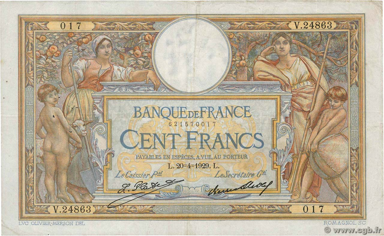100 Francs LUC OLIVIER MERSON grands cartouches FRANCE  1929 F.24.08 TB