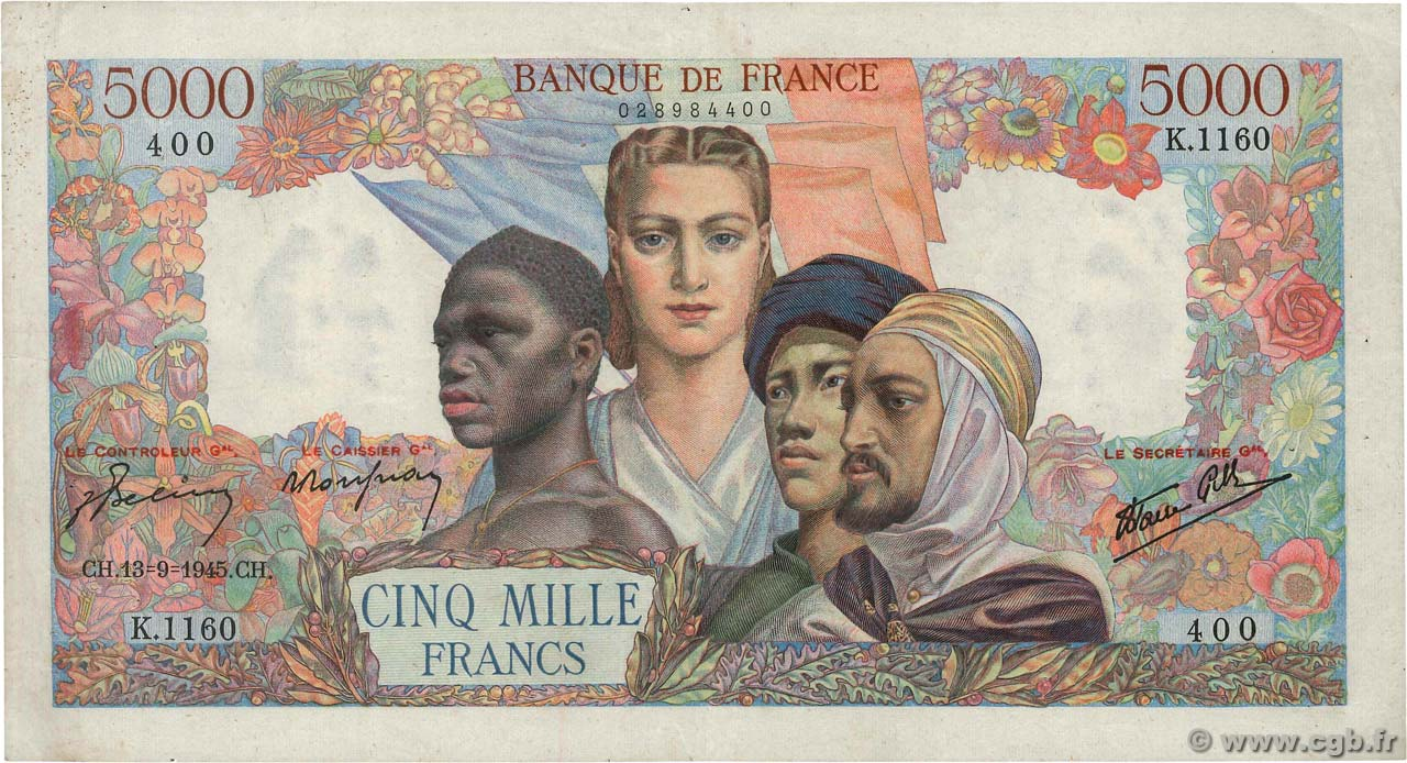 5000 Francs EMPIRE FRANÇAIS FRANCE  1945 F.47.43 pr.TTB