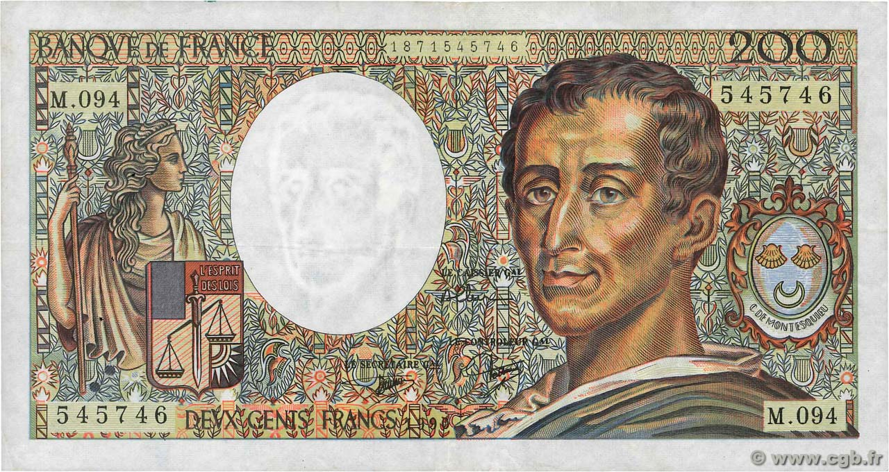 200 Francs MONTESQUIEU FRANCE  1990 F.70.10b TB