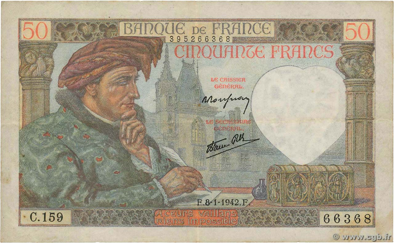 50 Francs JACQUES CŒUR FRANCE  1942 F.19.18 TB