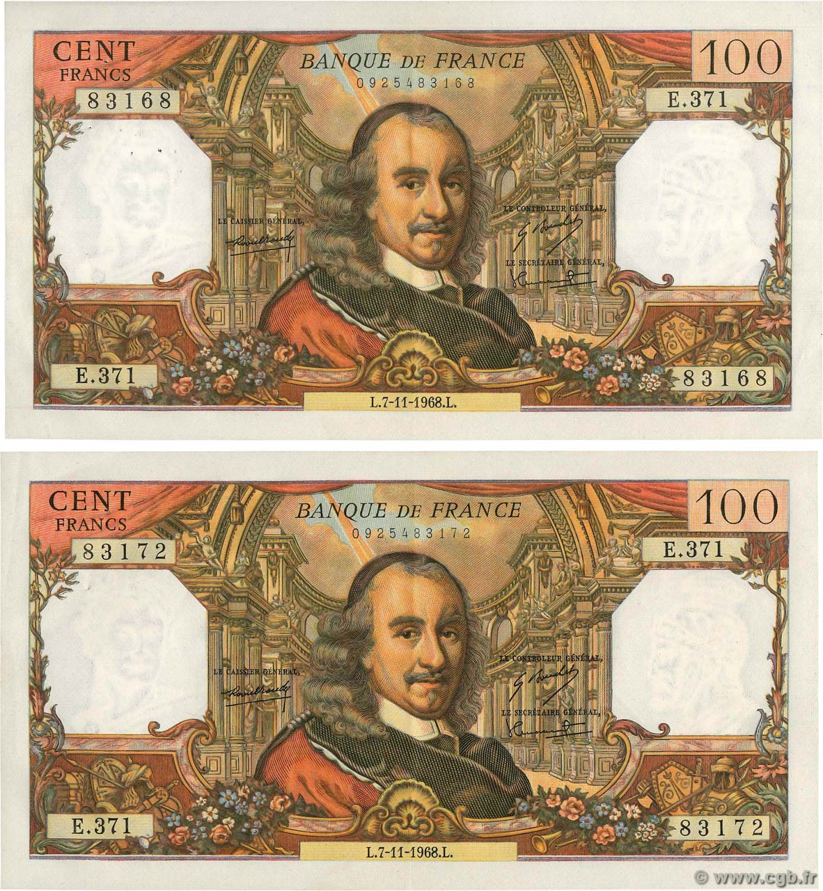 100 Francs CORNEILLE Lot FRANCE  1968 F.65.24 TTB+