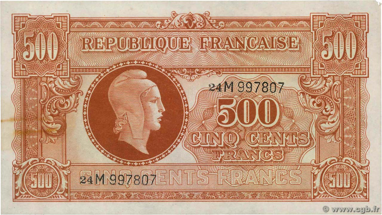 500 Francs MARIANNE FRANCE  1945 VF.11.02 TTB