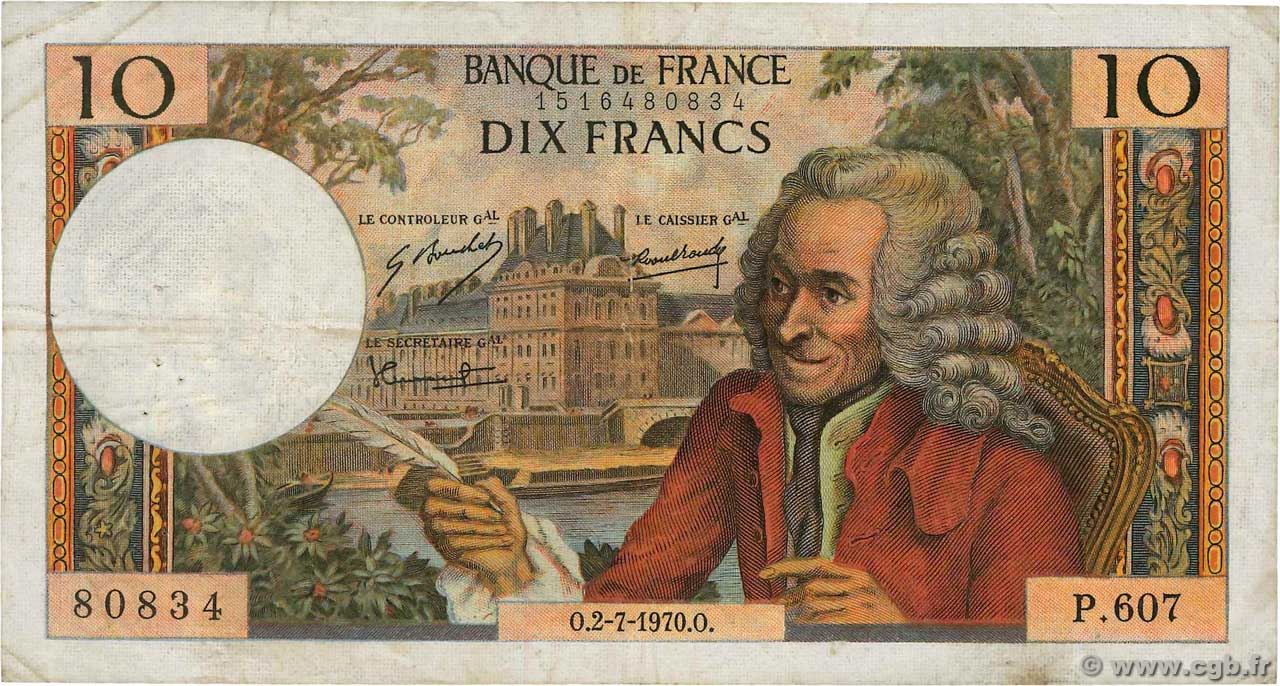 10 Francs VOLTAIRE FRANCE  1970 F.62.45 F