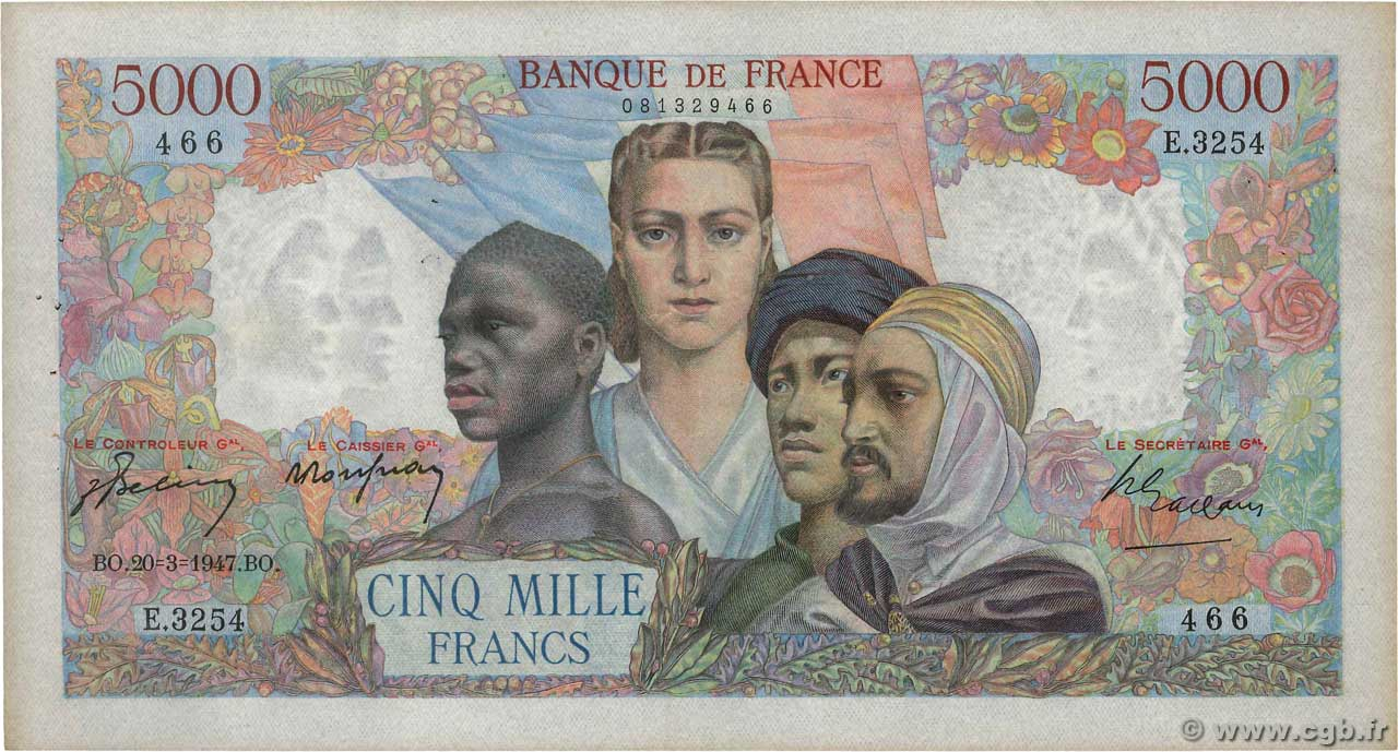 5000 Francs EMPIRE FRANÇAIS FRANCE  1947 F.47.59 TTB