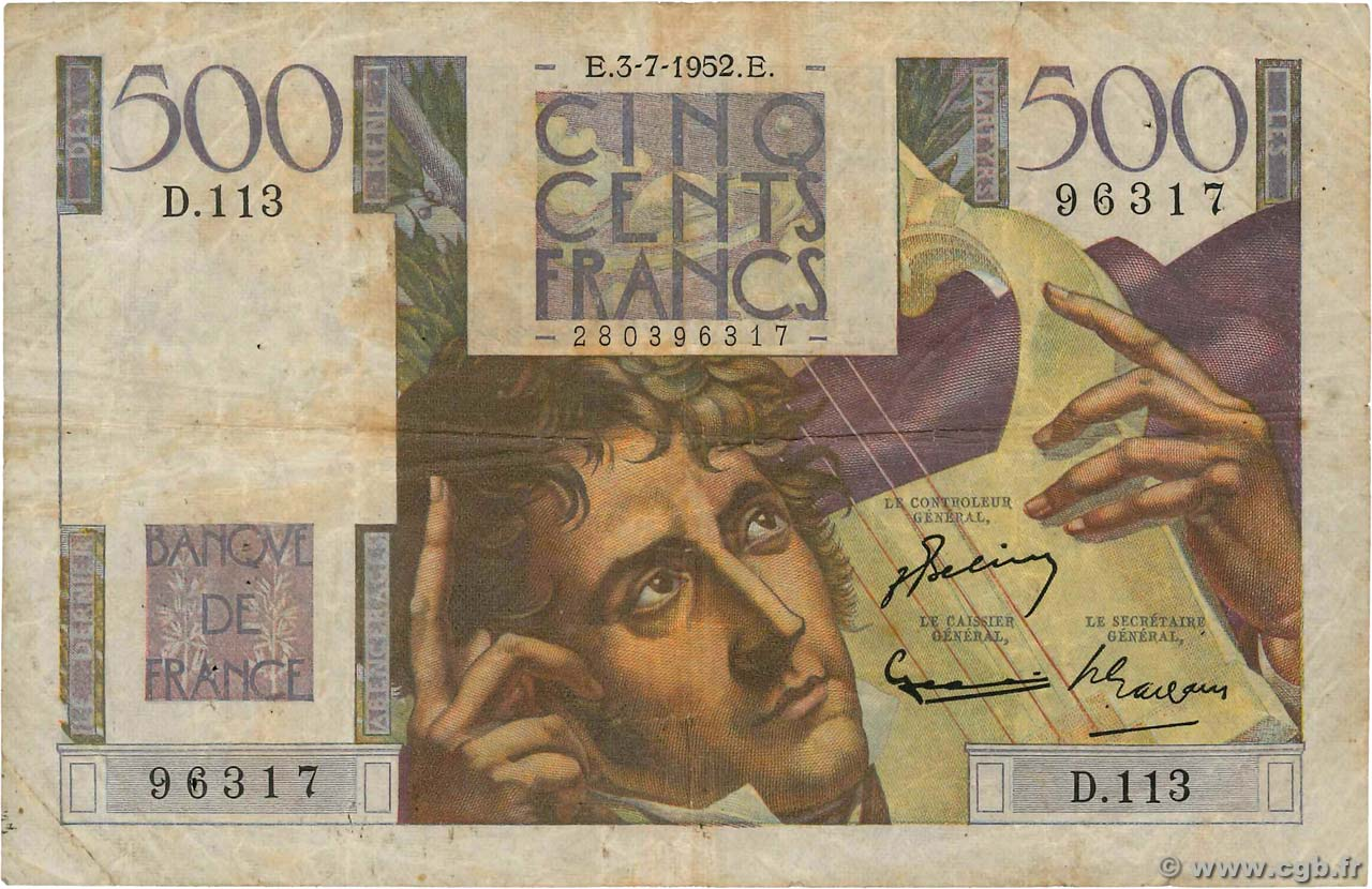500 Francs CHATEAUBRIAND FRANCE  1952 F.34.09 pr.TB
