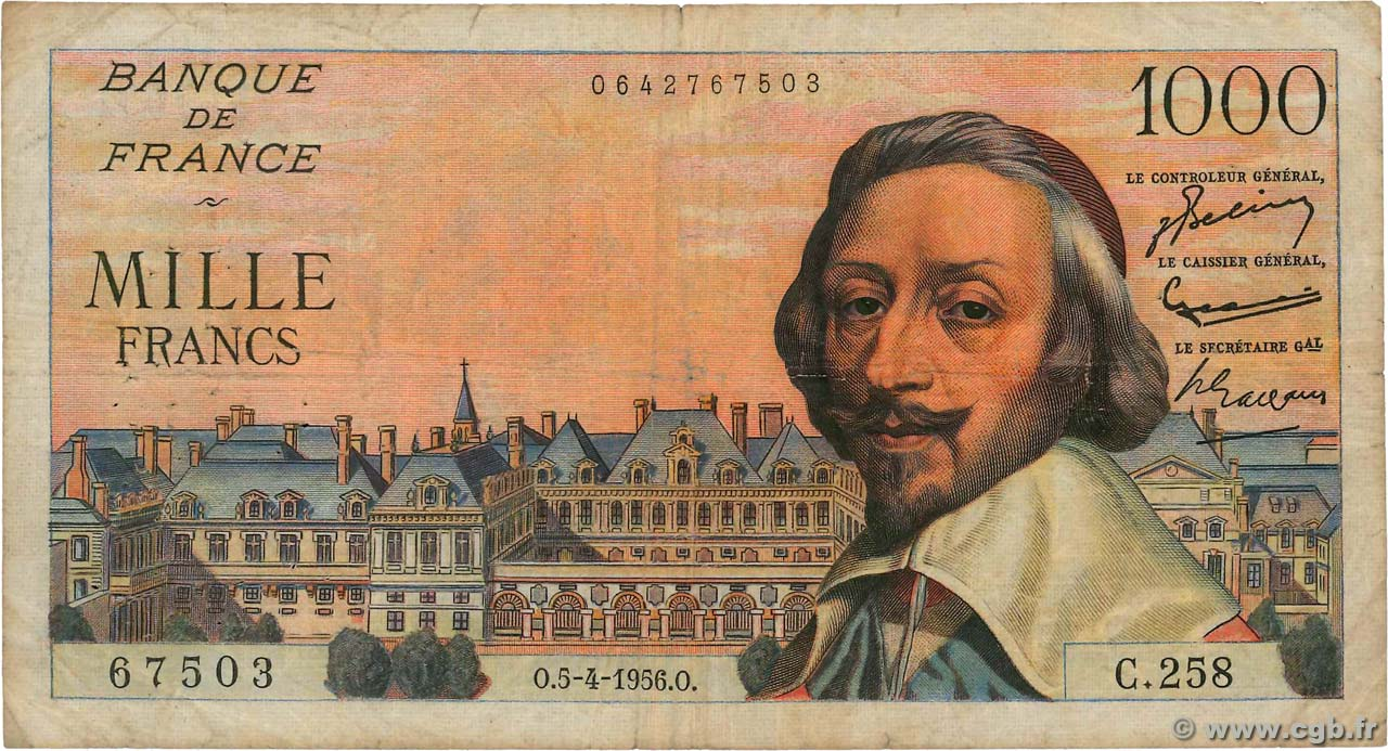 1000 Francs RICHELIEU FRANCE  1956 F.42.20 B