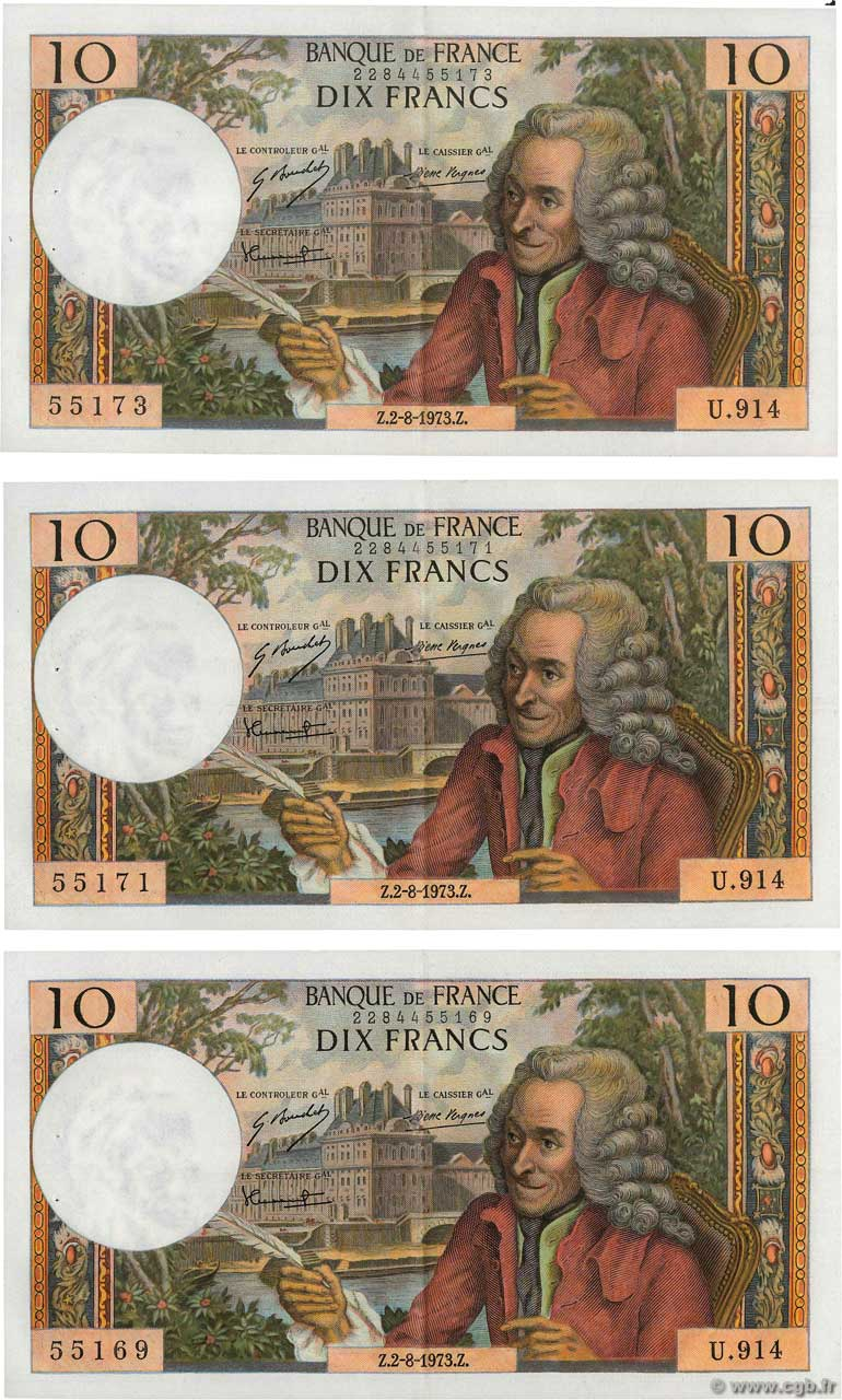 10 Francs VOLTAIRE Lot FRANCE  1973 F.62.63 SUP