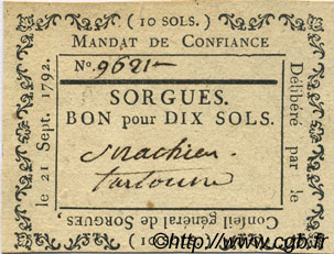 10 Sols FRANCE régionalisme et divers SORGUES 1792 Kc.13.128c SUP