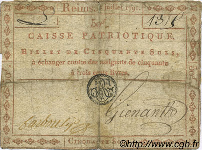 50 Sols FRANCE régionalisme et divers REIMS 1791 Kc.51.009 (ou 15c) B