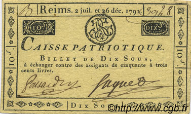 10 Sous  FRANCE régionalisme et divers Reims 1791 Kc.51.012 TTB