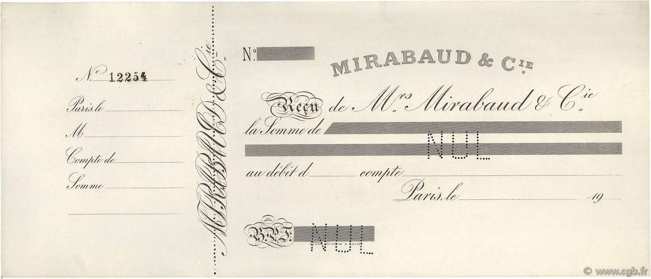 Francs FRANCE régionalisme et divers PARIS 1907 DOC.Reçu SUP