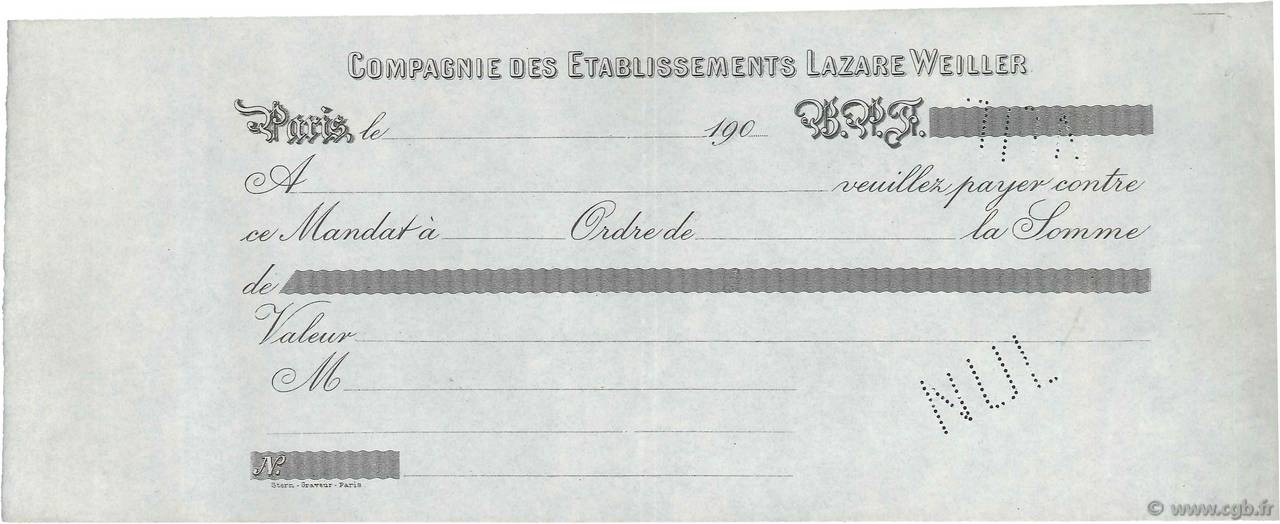 Francs FRANCE régionalisme et divers Paris 1900 DOC.Mandat SUP