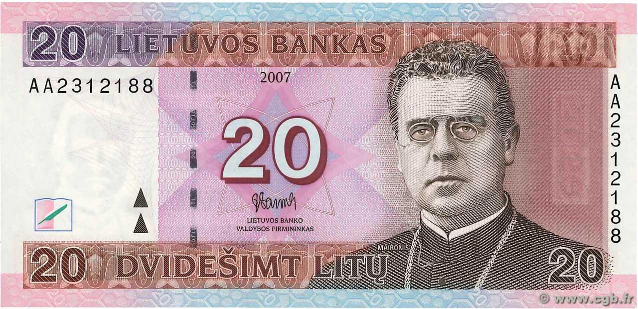 LITHUANIA 20 Litu 2007 P69 UNC Banknote