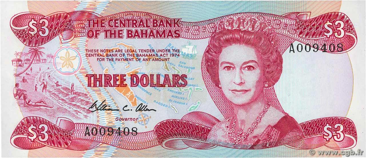 3 dollars bahamas 1974 p 44a b92 3447 banknotes
