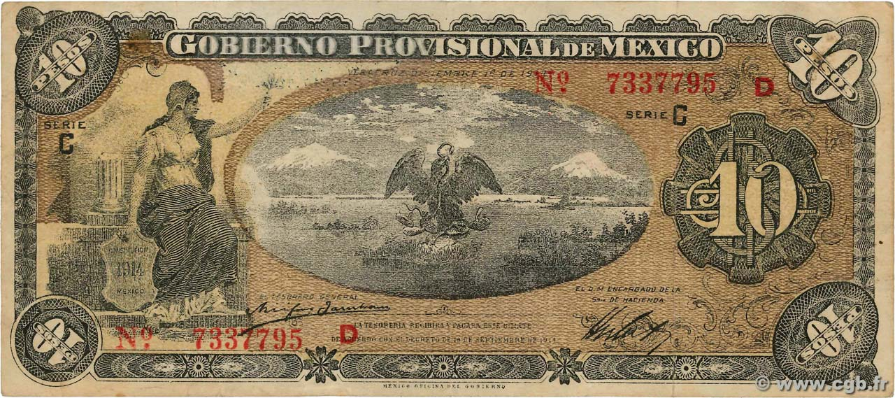 10 Pesos  MEXIQUE  1914 PS.0704a TTB